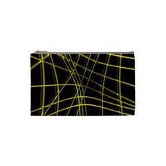 Yellow abstract warped lines Cosmetic Bag (Small)