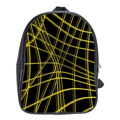 Yellow abstract warped lines School Bags(Large)