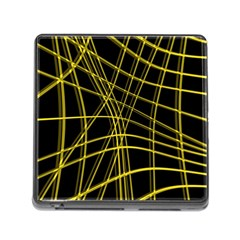 Yellow abstract warped lines Memory Card Reader (Square)