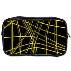 Yellow abstract warped lines Toiletries Bags 2-Side