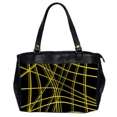 Yellow abstract warped lines Office Handbags (2 Sides)