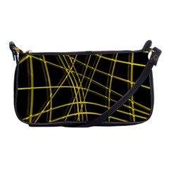 Yellow abstract warped lines Shoulder Clutch Bags
