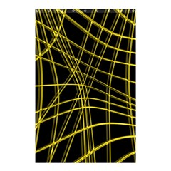 Yellow abstract warped lines Shower Curtain 48  x 72  (Small)