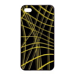 Yellow abstract warped lines Apple iPhone 4/4s Seamless Case (Black)