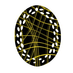Yellow abstract warped lines Ornament (Oval Filigree)