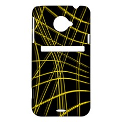 Yellow abstract warped lines HTC Evo 4G LTE Hardshell Case