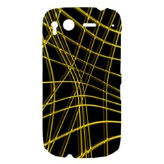 Yellow abstract warped lines HTC Desire S Hardshell Case