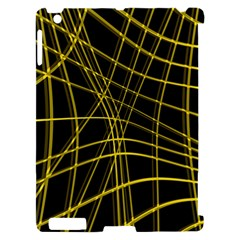 Yellow abstract warped lines Apple iPad 2 Hardshell Case (Compatible with Smart Cover)