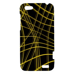 Yellow abstract warped lines HTC One V Hardshell Case