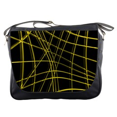 Yellow abstract warped lines Messenger Bags