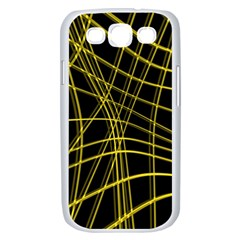 Yellow abstract warped lines Samsung Galaxy S III Case (White)