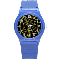 Yellow abstract warped lines Round Plastic Sport Watch (S)