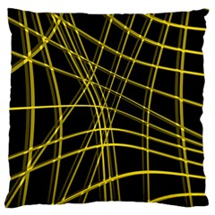 Yellow abstract warped lines Large Cushion Case (One Side)