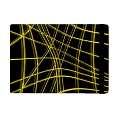 Yellow abstract warped lines Apple iPad Mini Flip Case