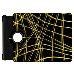 Yellow abstract warped lines Kindle Fire HD Flip 360 Case