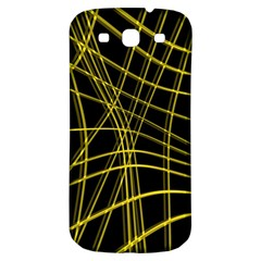 Yellow abstract warped lines Samsung Galaxy S3 S III Classic Hardshell Back Case