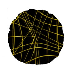 Yellow abstract warped lines Standard 15  Premium Round Cushions