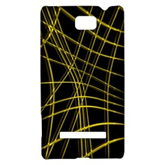 Yellow abstract warped lines HTC 8S Hardshell Case