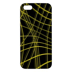 Yellow abstract warped lines Apple iPhone 5 Premium Hardshell Case