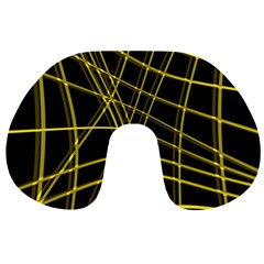 Yellow abstract warped lines Travel Neck Pillows