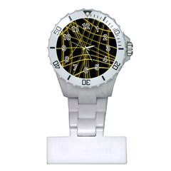Yellow abstract warped lines Plastic Nurses Watch