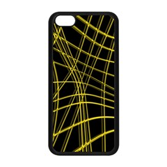Yellow abstract warped lines Apple iPhone 5C Seamless Case (Black)
