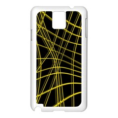 Yellow abstract warped lines Samsung Galaxy Note 3 N9005 Case (White)