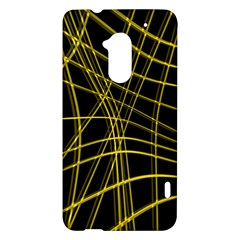 Yellow abstract warped lines HTC One Max (T6) Hardshell Case