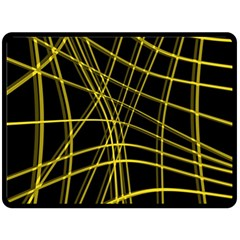 Yellow abstract warped lines Double Sided Fleece Blanket (Large)