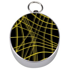 Yellow abstract warped lines Silver Compasses