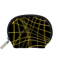 Yellow abstract warped lines Accessory Pouches (Small)