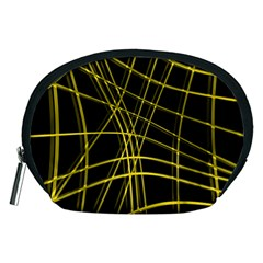 Yellow abstract warped lines Accessory Pouches (Medium)