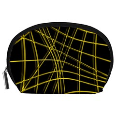Yellow abstract warped lines Accessory Pouches (Large)
