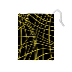 Yellow abstract warped lines Drawstring Pouches (Medium)