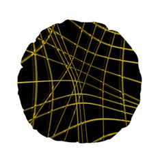 Yellow abstract warped lines Standard 15  Premium Flano Round Cushions