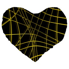 Yellow abstract warped lines Large 19  Premium Flano Heart Shape Cushions