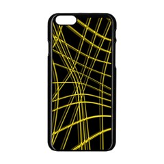 Yellow abstract warped lines Apple iPhone 6/6S Black Enamel Case