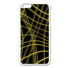 Yellow abstract warped lines Apple iPhone 6 Plus/6S Plus Enamel White Case