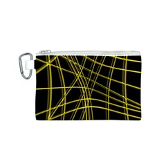 Yellow abstract warped lines Canvas Cosmetic Bag (S)