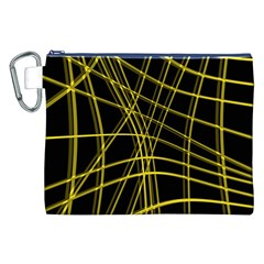 Yellow abstract warped lines Canvas Cosmetic Bag (XXL)
