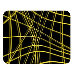 Yellow abstract warped lines Double Sided Flano Blanket (Large)