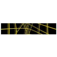 Yellow abstract warped lines Flano Scarf (Small)