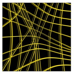 Yellow abstract warped lines Large Satin Scarf (Square)