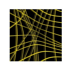 Yellow abstract warped lines Small Satin Scarf (Square)