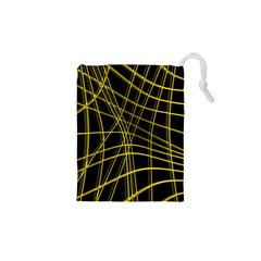 Yellow abstract warped lines Drawstring Pouches (XS)