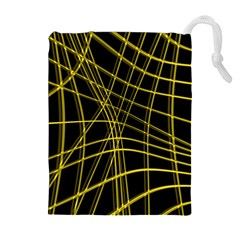 Yellow abstract warped lines Drawstring Pouches (Extra Large)