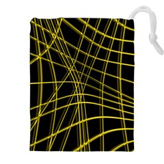Yellow abstract warped lines Drawstring Pouches (XXL)