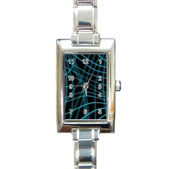 Cyan and black warped lines Rectangle Italian Charm Watch