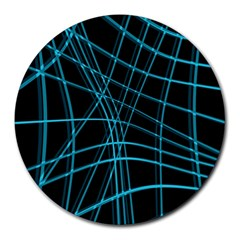 Cyan and black warped lines Round Mousepads