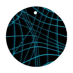 Cyan and black warped lines Ornament (Round)